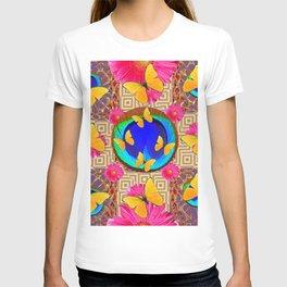 Fuchsia  Pink Yellow Butterflies Blue Patterns T-shirt