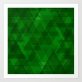 Bright green triangles in intersection and overlay. Art Print