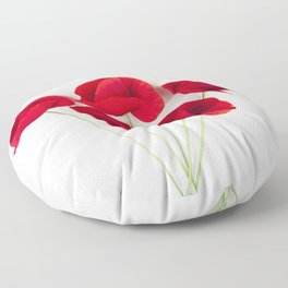 A Bunch Of Red Poppies Floor Pillow