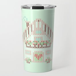 Little cute house cross stitch pattern - green Travel Mug
