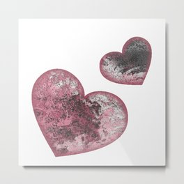 Double Emoji Heart in Pink Abstract Metal Print