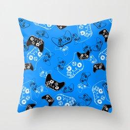 Video Gamer Blue Throw Pillow