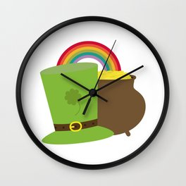 rainbow gold and leprechaun Wall Clock