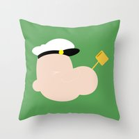 popeye Throw Pillows featuring 4menSmoking - Popeye by blaf