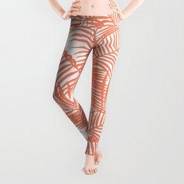Modern blush coral simple tropical  palm tree pattern Leggings