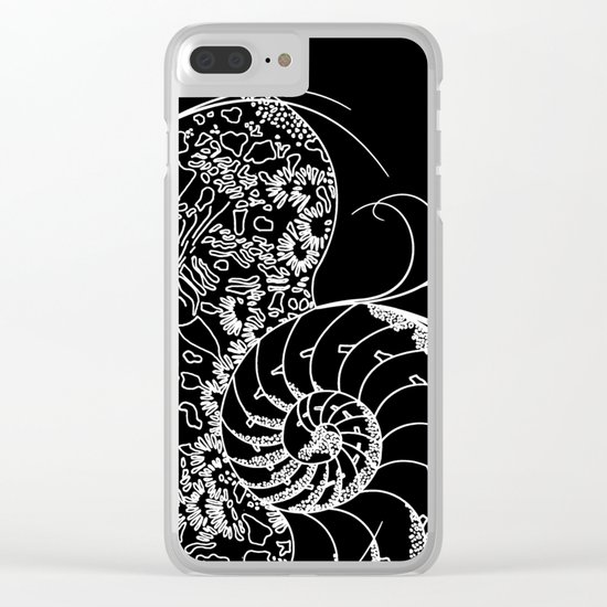 Black And White Shell Design Clear iPhone Case
