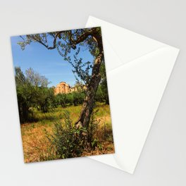 Italy, olive trees and an ancient abbey Stationery Cards