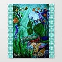 little mermaid Canvas Prints featuring Little Mermaid. by Sylvie Heasman