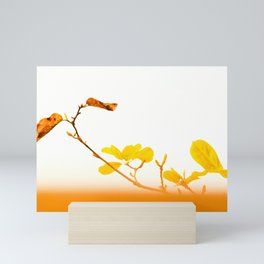 Slender branches and autumn leaves Mini Art Print