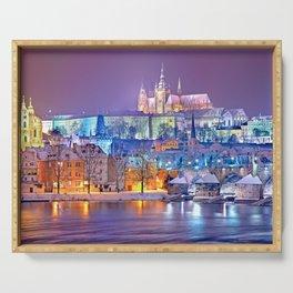 Colorful Prague Landscape Serving Tray