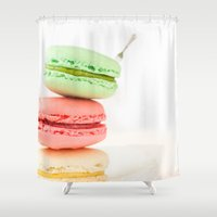 macaroons Shower Curtains featuring Macaron, Macarons, Macaroons, Tiny Silver Fork by Surface Maximus