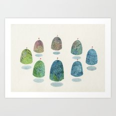 mountain reunion Art Print