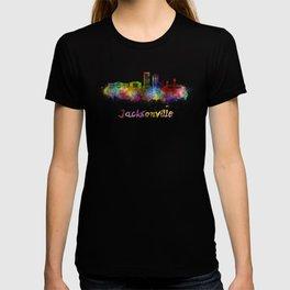 Jacksonville skyline in watercolor T-shirt