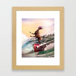 Funny Surfing Goat Framed Art Print
