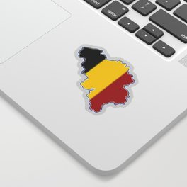 Belgium Map with Belgian Flag Sticker
