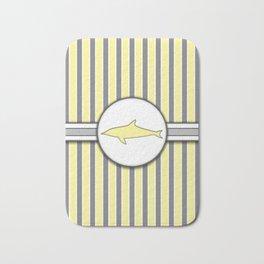 Yellow Dolphin Stripes Pattern Design Bath Mat