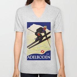 Vintage Adelboden Switzerland - Ski Jump Unisex V-Neck