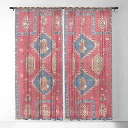 Borjalou Kazak Southwest Caucasus Prayer Rug Print Sheer Curtain