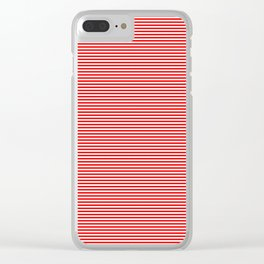 Mini Berry Red and White Rustic Horizontal Pin Stripes Clear iPhone Case