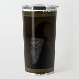 Dark Wizard portrait framed, white background Travel Mug