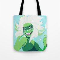malachite Tote Bags featuring malachite by flowersilk