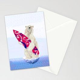 Polar bear & Surf (tribal pink) Stationery Cards