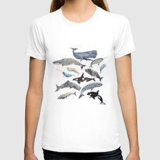 Whale Song Womens Fitted Tee MEDIUM White