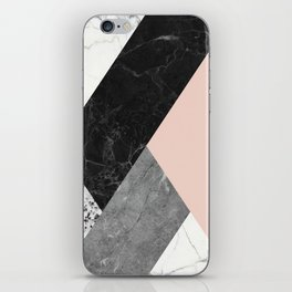 Black and White Marbles and Pantone Pale Dogwood Color iPhone Skin