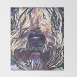 Wheaten Terrier Fun Dog Portrait bright colorful Pop Art Painting by LEA Throw Blanket