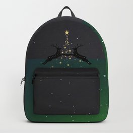 Champagne Gold Star Christmas Tree with Magical Reindeers - Emerald Green Backpack