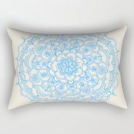 Pale Blue Pencil Pattern - hand drawn lace mandala Rectangular Pillow