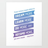 dolly parton Art Prints featuring Dream More - Dolly Parton Quote by brigette i design