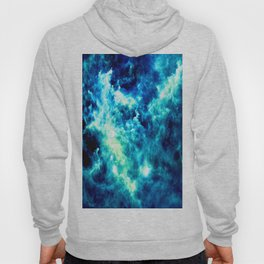 stormy nebula clouds turquoise blue Hoody