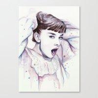 hepburn Canvas Prints featuring Audrey Hepburn Watercolor by Olechka