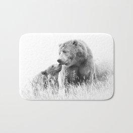 Grizzly Bear And Cub - B&W Wildlife Photography Bath Mat