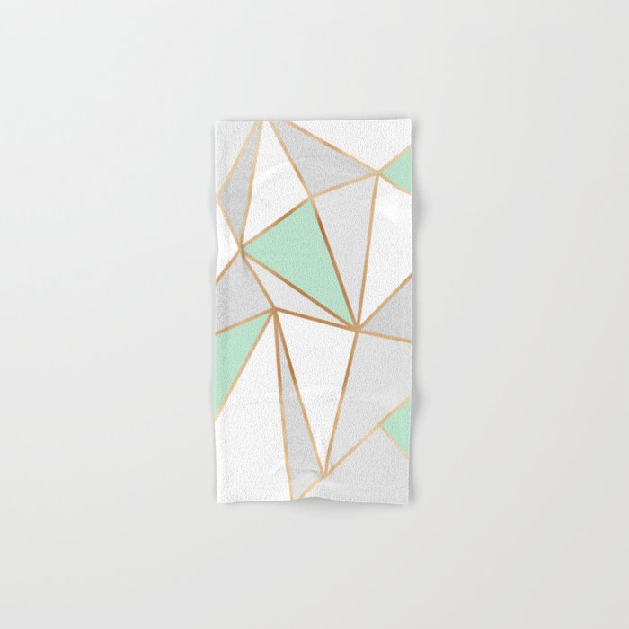 Mint Green, Grey & Gold Geo Hand & Bath Towel