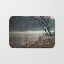 Morning fog, river and sunrise Bath Mat