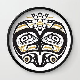 Northwest Pacific American Native Totem In Gold No. 12 Wall Clock