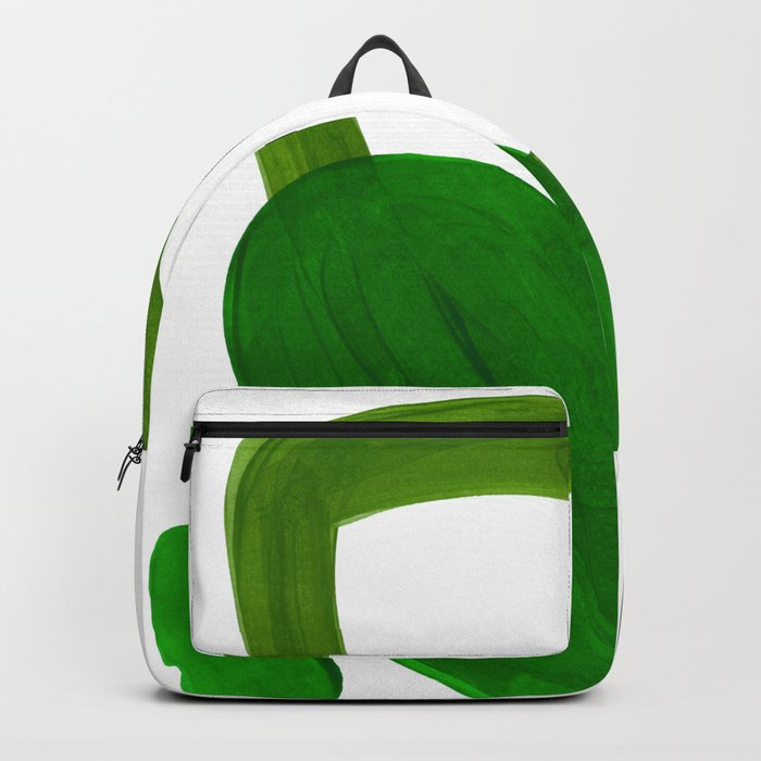 Mid Century Vintage 70's Design Abstract Minimalist Colorful Pop Art Olive Green Dark Green Grey Backpack