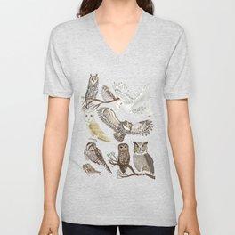 Owls Illustrated Chart Unisex V-Neck