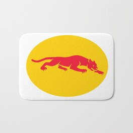 Panther Crouching Oval Retro Bath Mat