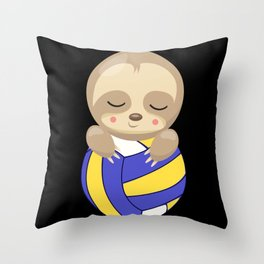 Sleepy Lazy Sloth With Volleyball Beach Throw Pillow