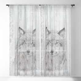 """Watercolor Painting of Picture """"Wolf"""" Sheer Curtain"""