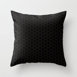 Black with fine line gold hexagon pattern Throw Pillow
