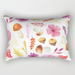 Magenta yellow hand painted watercolor Autumn floral Rectangular Pillow