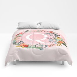 Flower Wreath with Personalized Monogram Initial Letter Q on Pink Watercolor Paper Texture Artwork Comforters