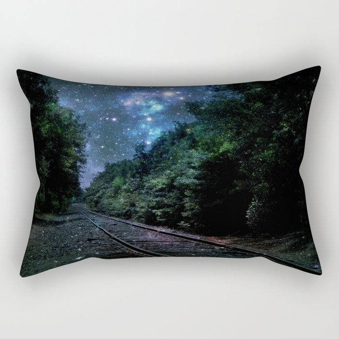 Train Tracks : Next Stop Anywhere Blue Side View Rectangular Pillow