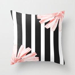 Cichoriums on stripes Throw Pillow