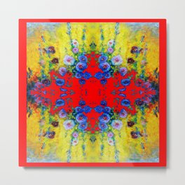 WESTERN YELLOW & RED GARDEN GOLD BLUE FLOWERS Metal Print