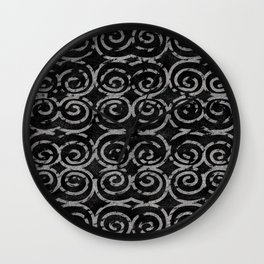 Frosty Black and White Pattern Wall Clock